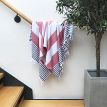 Load image into Gallery viewer, Pure Cotton Hammam Towel with Terry Lining in Red, White & Blue