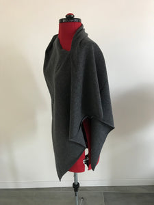 100% Pure Cashmere Boat Neck Poncho in Charcoal