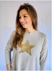 Sequin Star Cashmere Blend Jumper in Sand and Gold