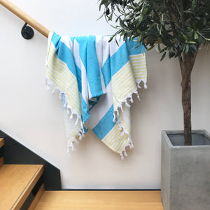Pure Cotton Hammam Towel with Terry Lining in Turquoise Blue & Yellow