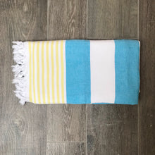 Load image into Gallery viewer, Pure Cotton Hammam Towel with Terry Lining in Turquoise Blue & Yellow