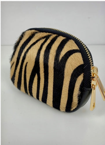 Cowhide Purse in Leather and Tiger Print