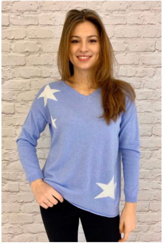 Tippi Star Cashmere Blend Jumper Pale Blue