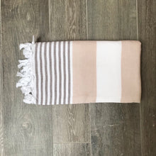 Load image into Gallery viewer, Pure Cotton Hammam Towel with Terry Lining in Beige & Grey