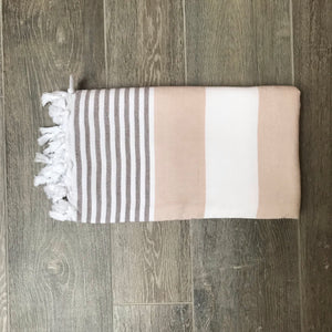 Pure Cotton Hammam Towel with Terry Lining in Beige & Grey
