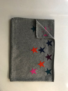 100% Pure Cashmere Star Scarf in Dark Grey with Multi Colour Stars