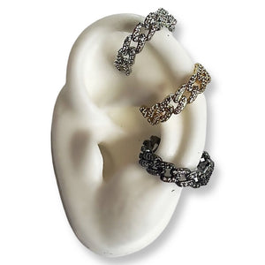 Jagged cuff earrings in white gold filled and yellow gold filled