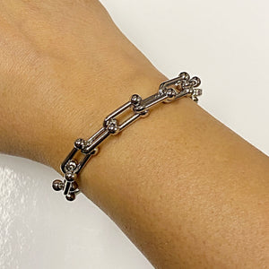 Chain Classique bracelet plated in silver u shaped link chain