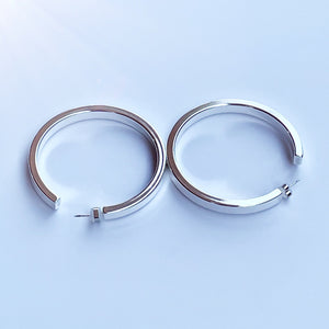 White gold filled nyc hoop earrings