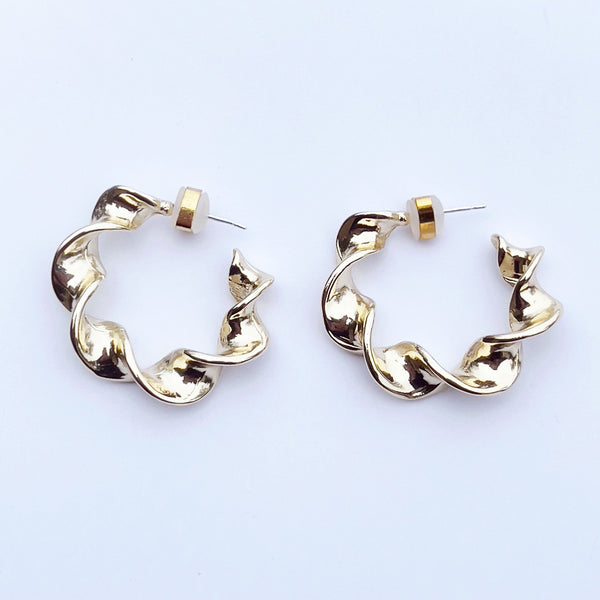 Yellow twisted mini hoops