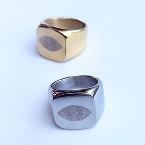 Stainless steel oculus ring in both yellow gold and white gold