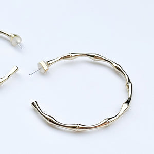 Yellow gold filled shiloh bamboo hoop earrings