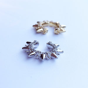 White gold filled and yellow gold filled jagged ear cuff