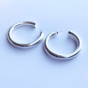 White gold filled hollow halo hoop earrings