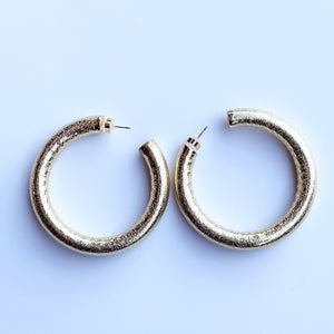 Yellow gold filled hollow halo hoop earrings