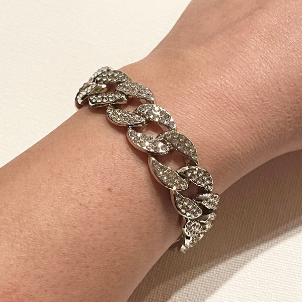 White gold plated crystal pave Cuban chain bracelet