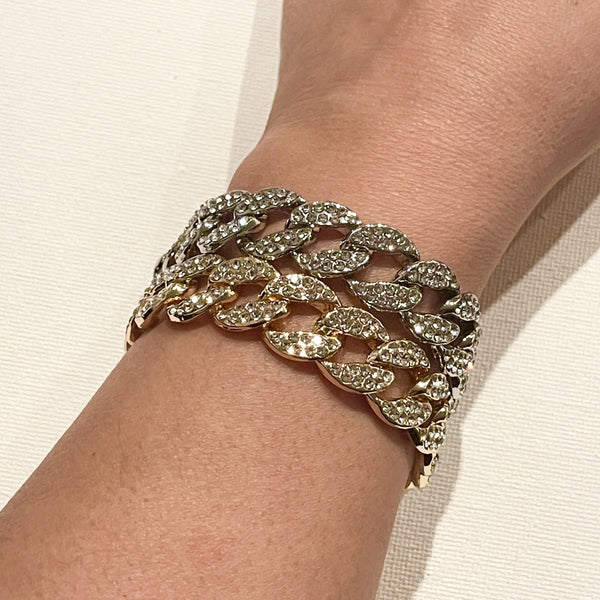 Yellow gold plated and white gold plated crystal pave set Cuban chain bracelet