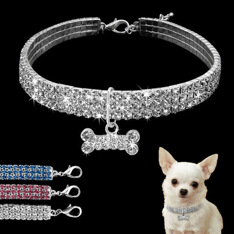 Bling Rhinestone Dog Collar Crystal Puppy Chihuahua Pet Dog Collars Leash For Small Medium Dogs Mascotas Accessories S M L Pink