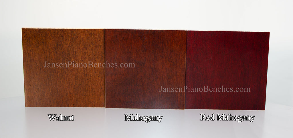 piano bench color options walnut mahogany red mahogany