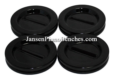 grand piano caster cups black high polish finish Jansen