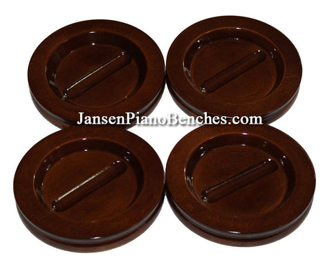 Walnut high polish grand piano caster cup Jansen