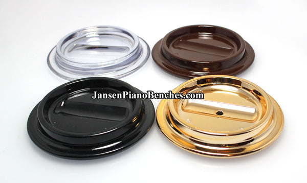 lucite piano caster cup color options black brown clear and brass