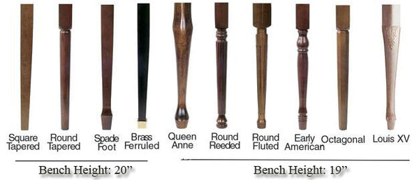 jansen upright piano bench leg style options