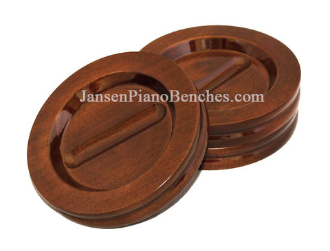 jansen high polish walnut caster cups for piano