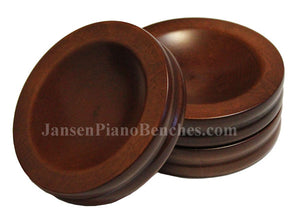walnut piano caster cups Jansen satin finish