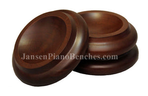 walnut piano caster cup royal wood 3 1/2 inch