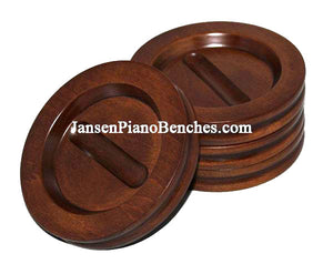 piano caster cups with satin walnut finish by Jansen