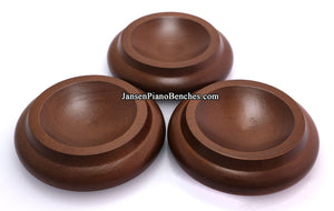 walnut piano caster cups set of 3
