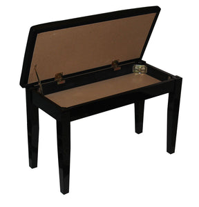 Padded Top Black High Polish Piano Bench with Music Storage Compartment