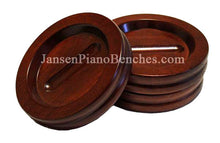 Load image into Gallery viewer, Jansen mahogany grand piano caster cups satin finish