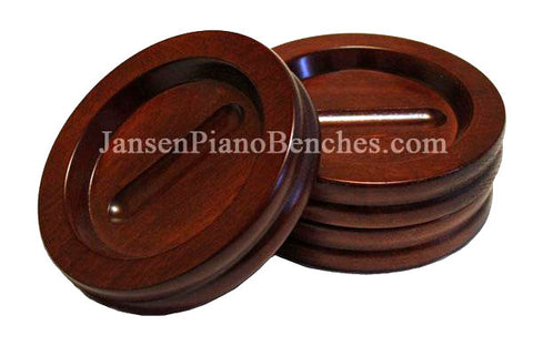 Jansen mahogany grand piano caster cups satin finish