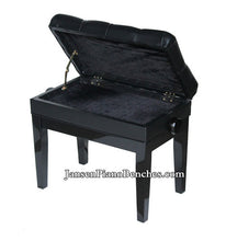 Load image into Gallery viewer, black piano bench sheet music storage compartment