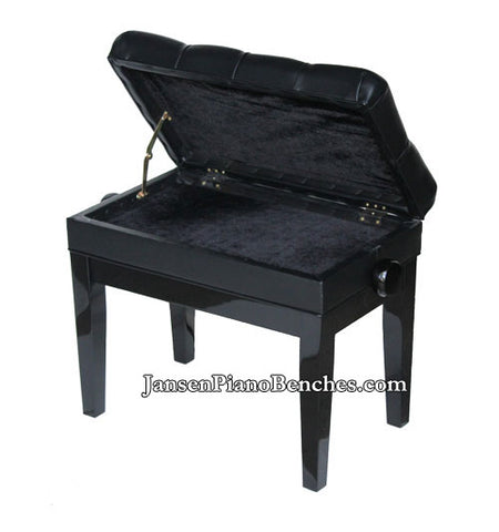 black piano bench sheet music storage compartment