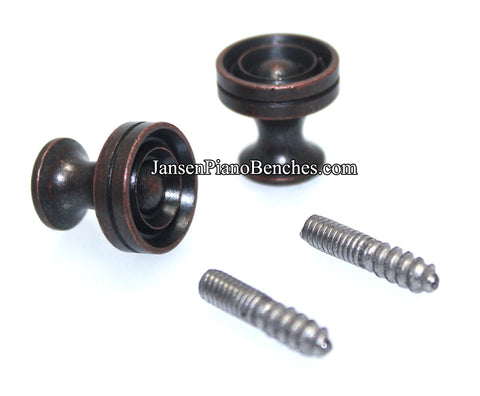 piano desk knobs antique bronze with wood screws