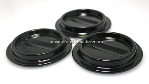 Black Lucite Piano Caster Cups 4-1/2