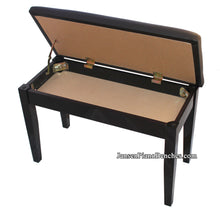 Load image into Gallery viewer, black upright piano bench with sheet music storage compartment