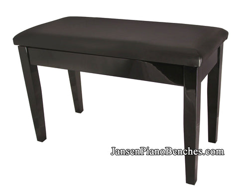 black high gloss piano bench with padded top