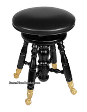 Load image into Gallery viewer, black piano stool jansen j90 claw foot