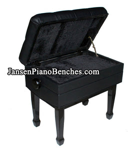 black adjustable piano bench with sheet music storage