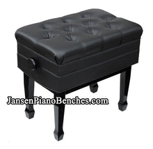 Load image into Gallery viewer, black adjustable piano bench with sheet music storage compartment
