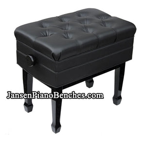 black adjustable piano bench with sheet music storage compartment