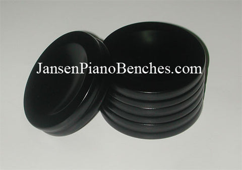 piano caster cups black satin finish