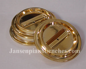 piano caster cup brass finish