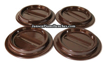 Load image into Gallery viewer, brown lucite piano caster cups plastic for mahogany walnut pianos