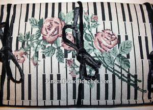 piano bench cushion embroidered rose and keyboard