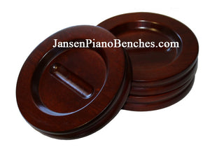 "Jansen grand piano caster cups in mahogany 5.5"" pad"